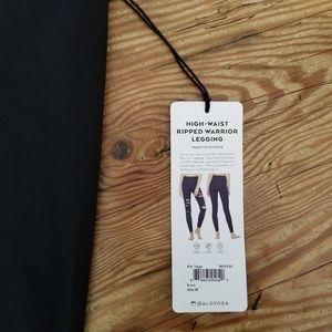 ALO Yoga Pants - Alo High-Waist Ripped-Warrior Legging Black Medium